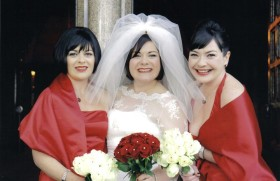 Bride at wedding with make-up by Isobel Donald Professional Make-up artist